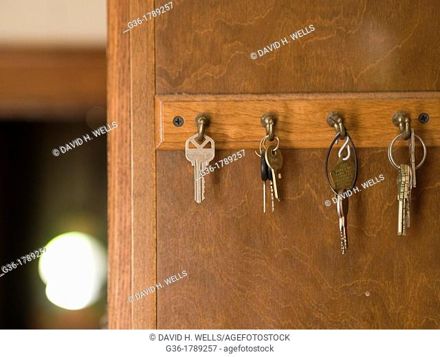 House keys rest on hooks, left behind in a foreclosed house in Woonsocket, Rhode Island, United States