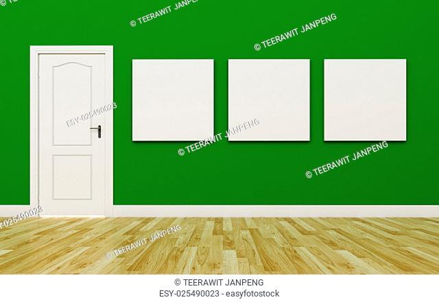 Closed White Door on Green Wall , three blank poster , Wood Floor