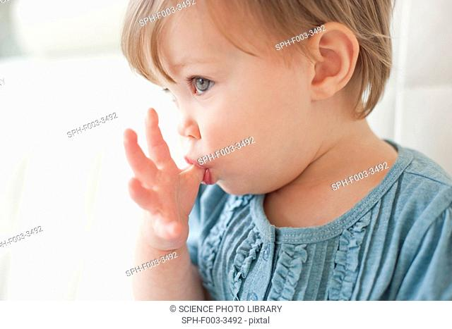 Toddler sucking her thumb. She is 15 months old