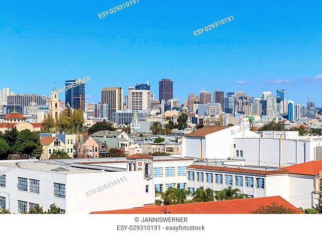 View over the rooftops of San Francisco from the Castro/Mission-Dolores area in San Francisco, CA in October 2014