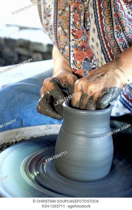 pottery with lathe-work, Saint-Amand-en-Puisaye, Nievre department, region of Burgundy, center of France, Europe