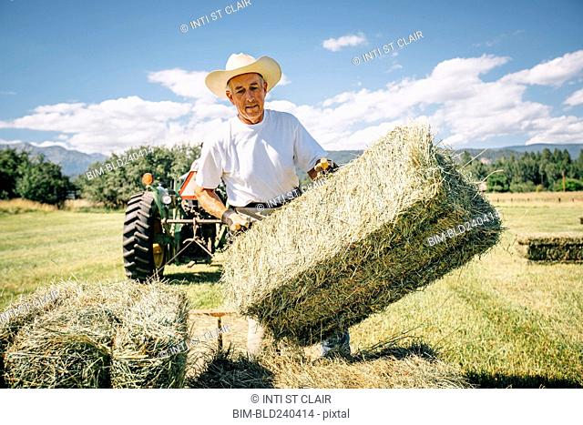 Caucasian farmer in field lifting bale of hay