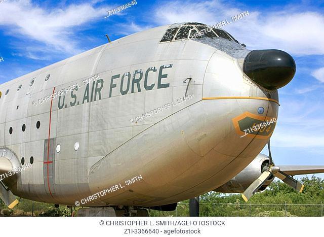"A 1950s Douglas C-124 Gobemaster, nicknamed """"Old Sharky"""" USAF heavy lift cargo plane"