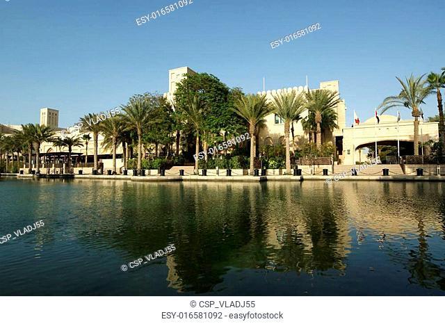Arabian architecture of a luxurious hotel in Dubai, UAE-- Dubai Madinat Jumeira