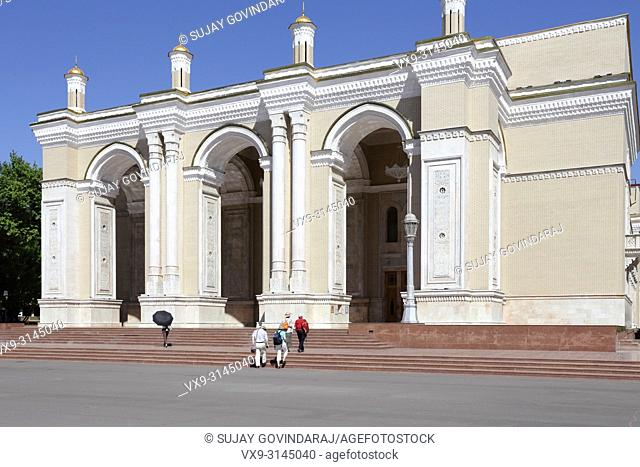 Tashkent, Uzbekistan - May 12, 2017: View of Navoi theatre, one of the famous landmark in the city that attract tourists