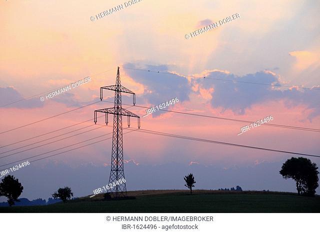 Power line, hills near Passau, Lower Bavaria, Bavaria, Germany, Europe