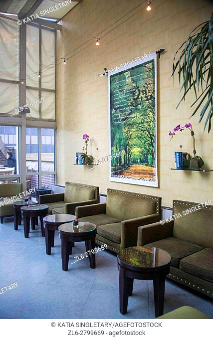 Inside of Lounge rooftop with a outdoor terrace in a New York City Hotel. The inside lounge has modern leather furniture and paintings