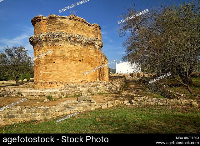 Roman archeological site, the rear of the water temple Milreu, Est¢i, Algarve, Faro, Portugal