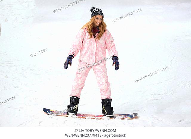 Stacey Solomon and Aimee Fuller National Schools Snowsport Week photocall held at The Snow Centre Featuring: Stacey Solomon Where: London