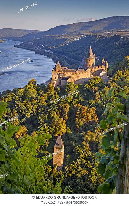 Stahleck Castle in Bacharach with magnificent and strategic vision of the Rhine, Bacharach, Rhineland Palatinate, Germany, Europe