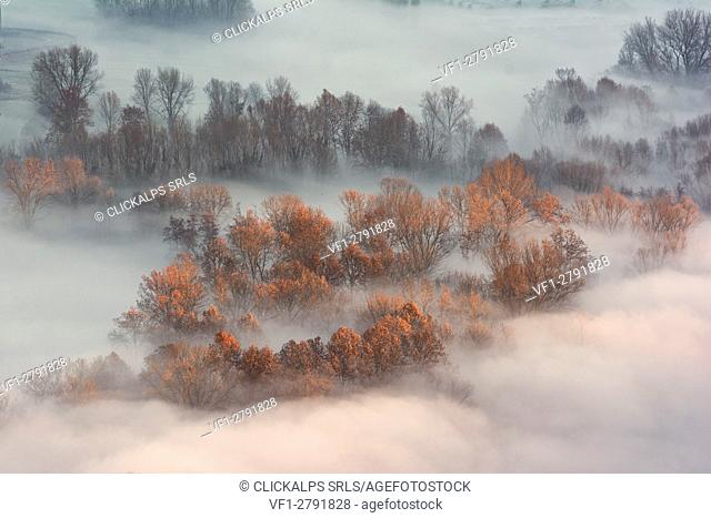 Atmosphere on the banks of the river Adda, province of Lecco, Airuno, Italy