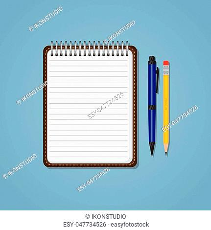 Spiral notebook with lines, pencil and ballpen. Education or business concept. Office supplies