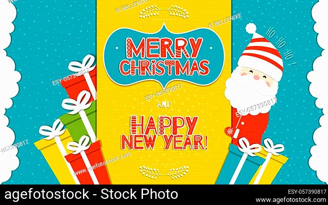 This is a bright congratulatory Christmas background with Santa Claus. Inscriptions Merry Christmas and Happy New Year with the letters in the Scandinavian...