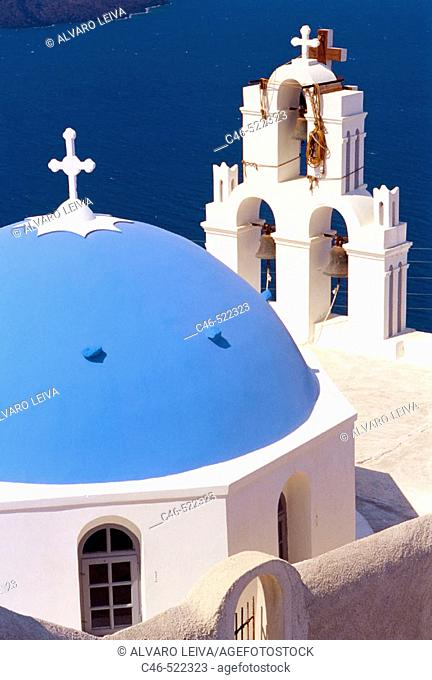 Church, Thera, Santorini, Cyclades Islands, Greece