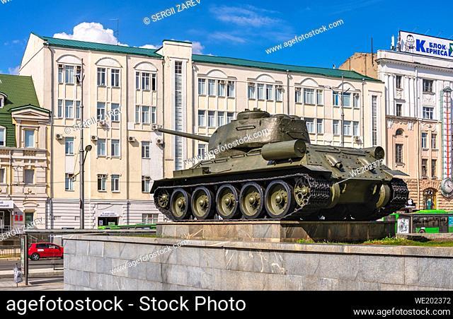 Kharkiv, Ukraine 07. 17. 2020. Monument to the tank on Constitution Square in Kharkiv, Ukraine, on a sunny summer day