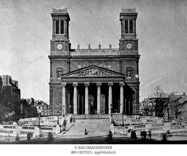 One of the first autotype prints, Eglise Saint Vincent de Paul Church, historic photograph, 1884, Paris, France, Europe