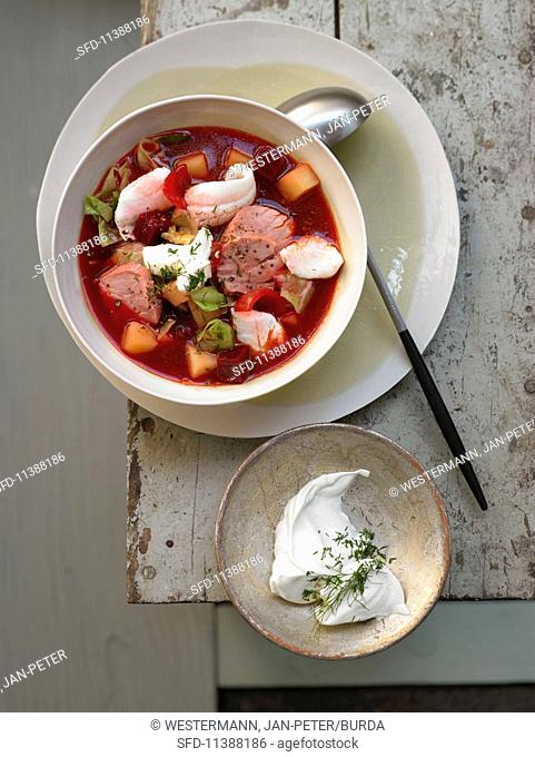 Plaice borscht with smoked pork fillet, beetroot, pointed cabbage and dill sour cream