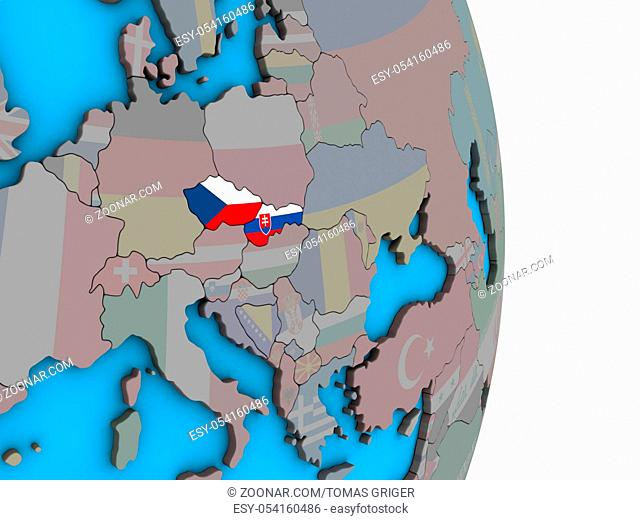 Former Czechoslovakia with embedded national flags on simple political 3D globe. 3D illustration