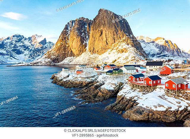 Hamnoy, Lofoten islands, Norway. winter view in a sunny day