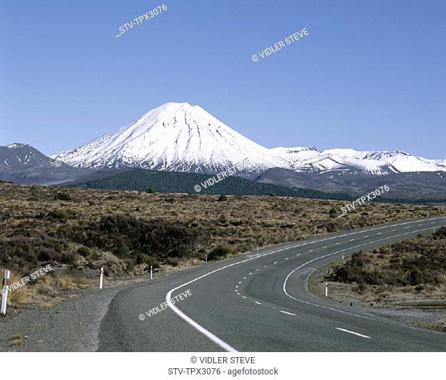 Capped, Empty road, Holiday, Landmark, Mount ngarahoe, Mountain, New zealand, North island, Snow, Tongariro, Tongariro national