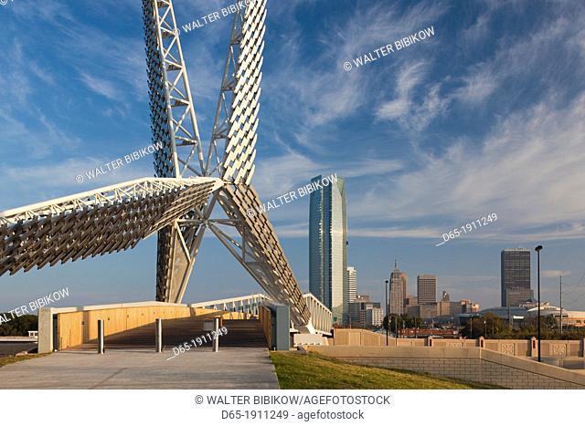 USA, Oklahoma, Oklahoma City, Skydance Footbridge over highway I-40, built 2012, morning