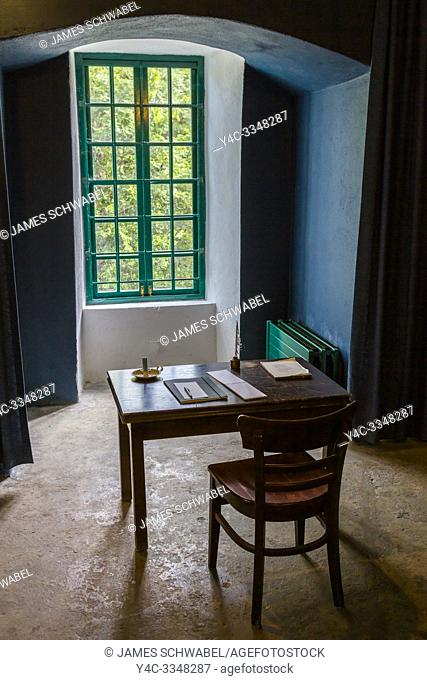 Writing desk of Poet William Butler Yeats in Thoor Ballylee Castle or Yeats Tower built 15th or 16th century lived in by poet William Butler Yeats in town if...