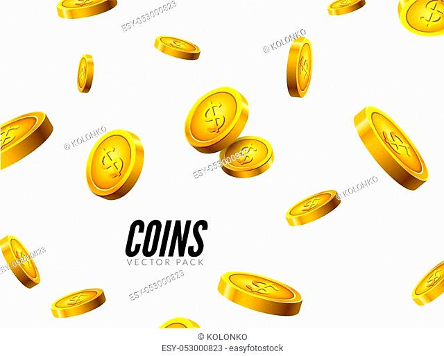 Vector gold coins falling. Coin icons realistic design with shadow. Cash treasure success concept