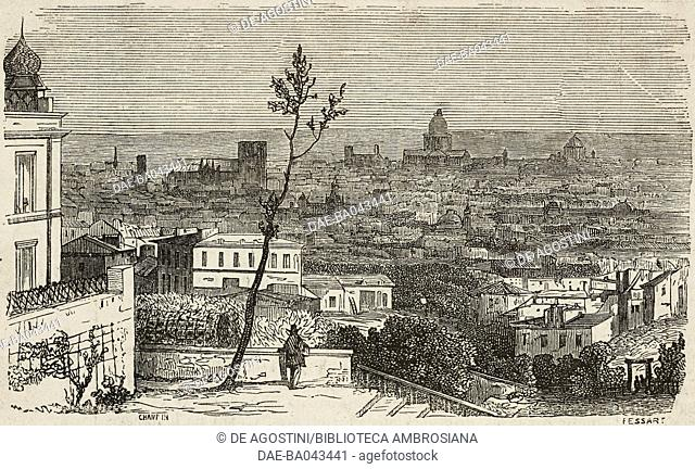 View of Paris from Montmartre hill, France, illustration from L'Illustration, Journal Universel, No 624, Volume XXV, February 10, 1855