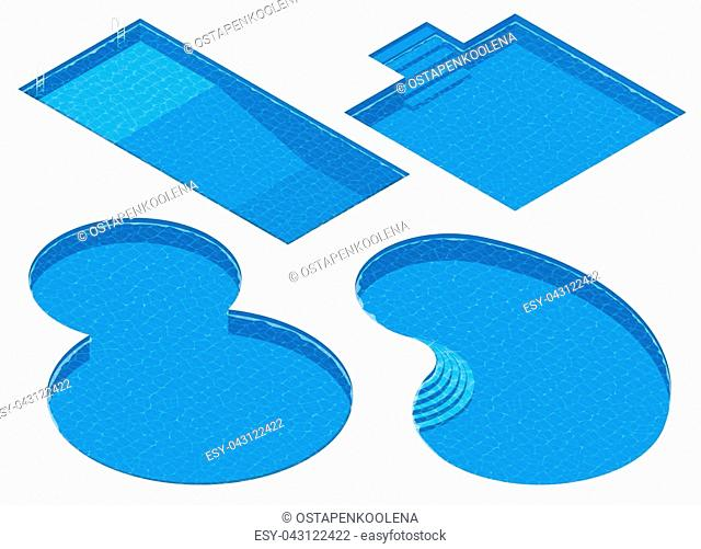 Isometric Set Different Forms Swimming Pools. Rectangular, Square, Double Round, Oval Pool. Detailed Vector Illustration
