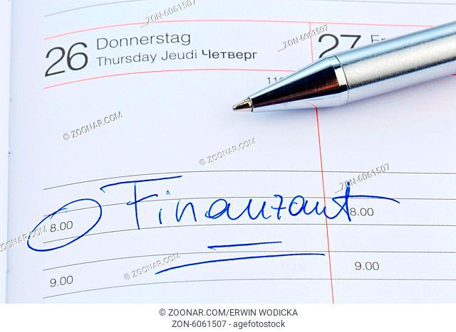Ein Termin ist in einem Kalender eingetragen: Finanzamt