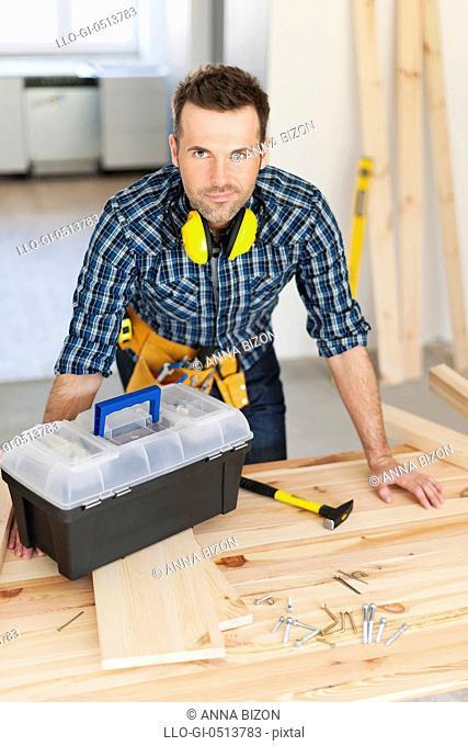 Portrait of construction worker. Pilzno, Poland