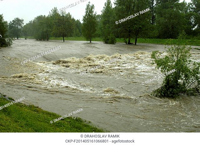 Steady rain raised the water level of the rivers in northern Moravia and Silesia last night and during the day. Pictured river Olse in Karvina, Czech Republic