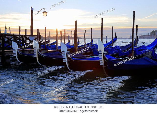 Gondolas at sunrise, St Mark's waterfront, Venice, Italy
