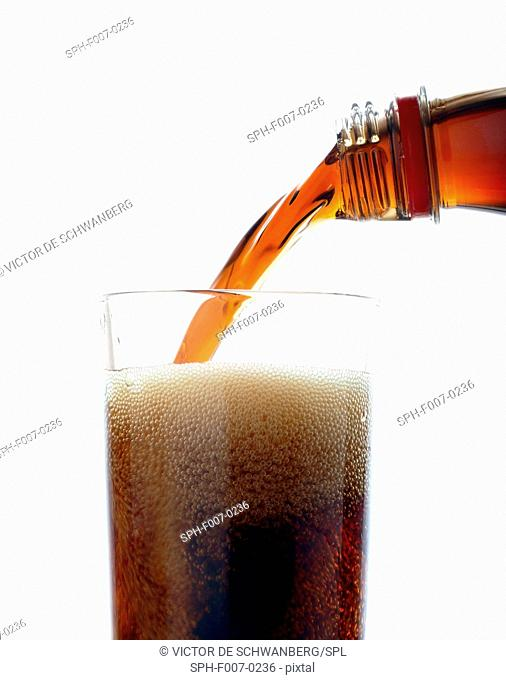 Fizzy drink being poured into a glass