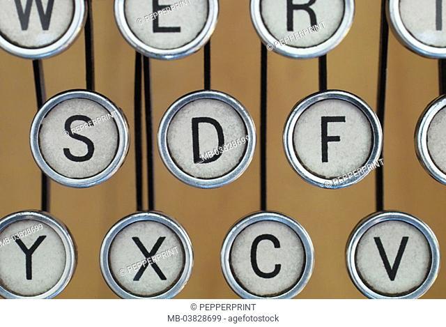 Typewriter, buttons, detail,    Series, travel typewriter, office machine, old, nostalgically, mechanically, character lever typewriter, levers, keyboard