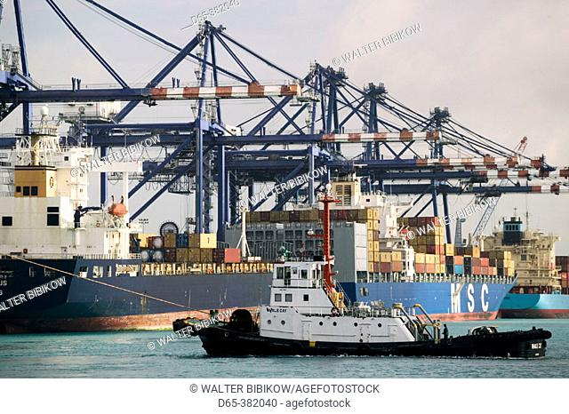 Bahamas, Grand Bahama Island, Freeport: Port of Freeport Container Cargo Port Area, Morning
