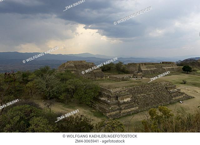 View of the Grand Plaza towards the Gallery of los Danzantes (dancers) from the South Platform of Monte Alban (UNESCO World Heritage Site)