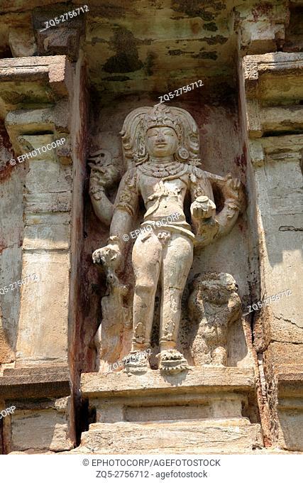 Bhikshatana-murti, niche on the southern wall, Amman temple of goddess Brihannayaki, Brihadisvara Temple complex, Gangaikondacholapuram, Tamil Nadu, India