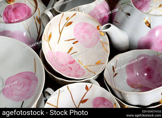 traditional Russian porcelain tea set, flowers and gold