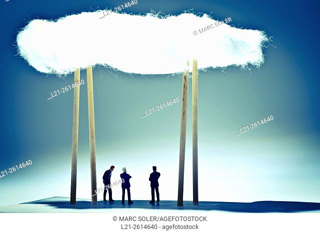 Business cloud concept. Business men meeting