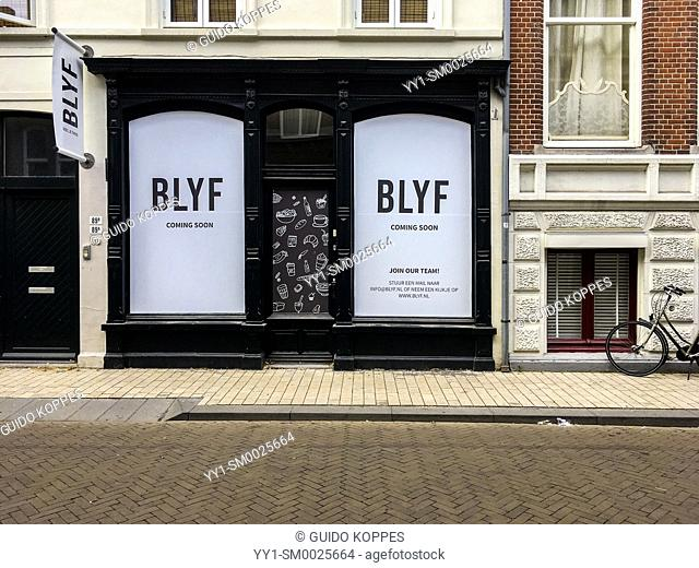 Tilburg, Netherlands. Face of a luxurious food shop soon to be opened, selling luxurious foods and delicatessen