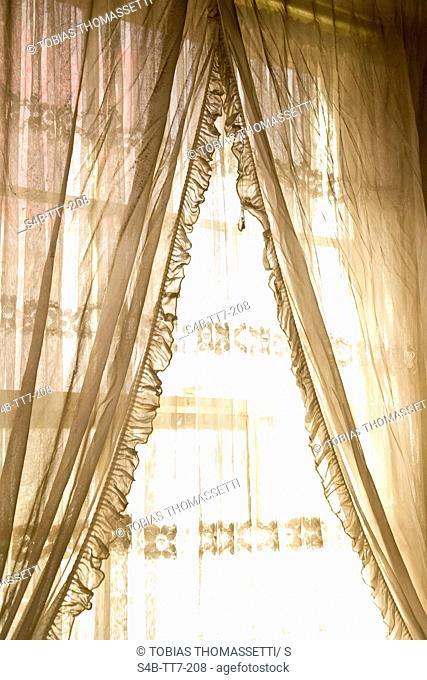 Window with curtain, Ballarat, Victoria, Australia
