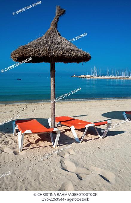 Straw parasols in Can Pastilla, Mallorca, Balearic islands, Spain