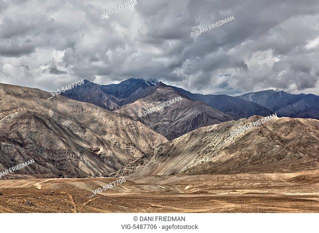 Mountains in a remote area outside the town of Leh in Ladakh, Jammu and Kashmir, India. - LEH, LADAKH, INDIA, 22/06/2014