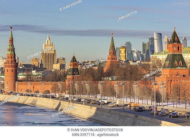 Cityscape, Kremlin, Moskva river, Moscow, Russia