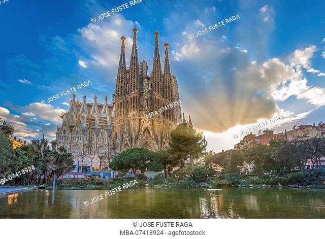 Barcelona City, Gaudi architect, Sagrada Familia Basilica, Spain, sunset
