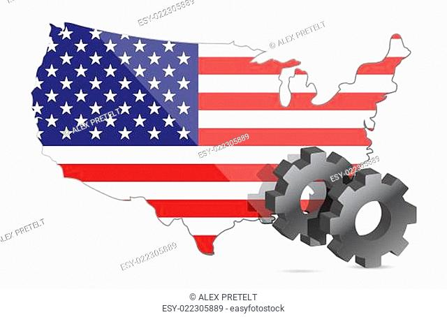 Us map flag and gears illustration design
