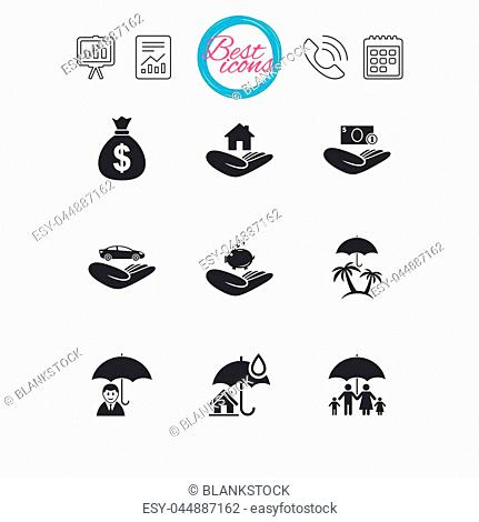 Presentation, report and calendar signs. Insurance icons. Life, Real estate and House signs. Money bag, family and travel symbols