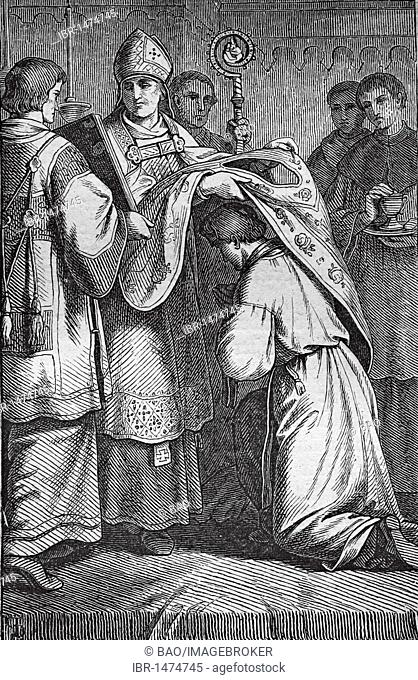 Ordination, historic steel engraving from 1860