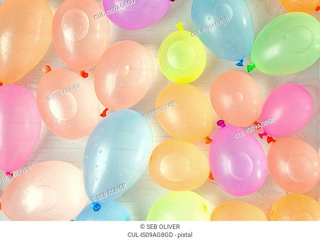 Assortment of colourful water balloons